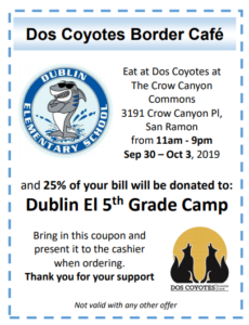 5th Grade Camp Fundraiser @ Dos Coyotes